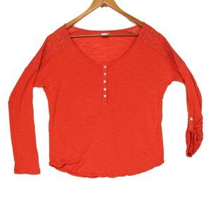 Lucky Brand Women's Orange Lace Henley Top